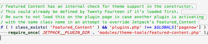Plugin JetPack: what about with class Featured_Content from theme TwentyFourteen ?